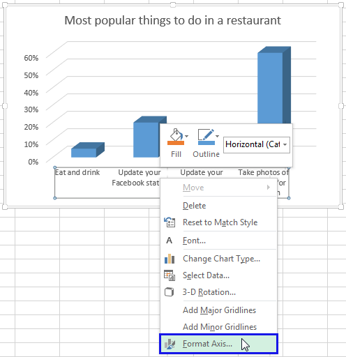 Right click on the Horizontal axis and select the Format Axis item from the menu