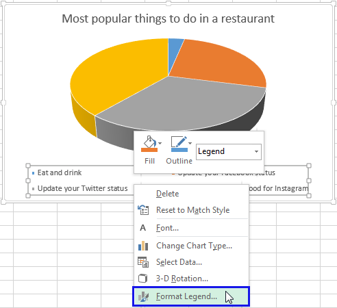 Right click on the Legend and select the Format Legend item from the menu