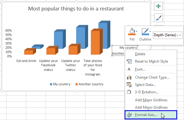 Right click on the Series axis and select the Format Axis item from the menu