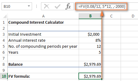 Using the FV function to calculate compound interest in Excel