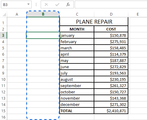 Insert a new column to enter formulas in the adjacent blank cells