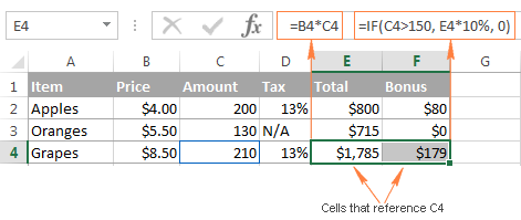 Highlighting all formulas that reference the selected cell