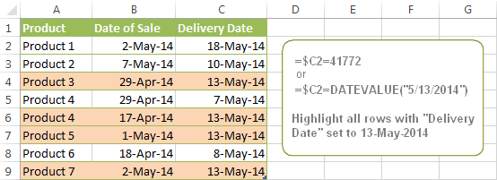 Highlight every row based on a certain date in a certain column.