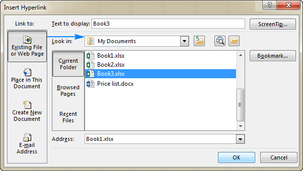 Create a hyperlink to another document
