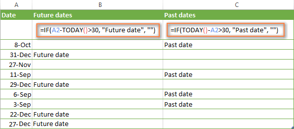Advanced IF formulas for future and past dates