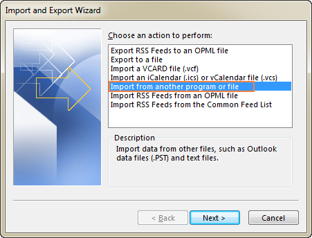 Select Import from another program or file, and click Next.