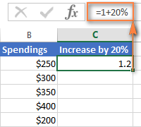A formula to increase an entire column of numbers by a certain percentage
