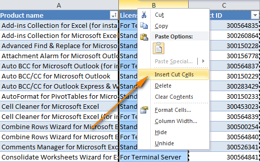 Select the column before which you want to insert the cut column and choose Insert Cut Cells from the pop-up menu.