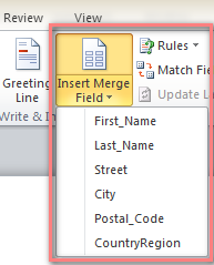 Click Insert Merge Field and choose the data you want to insert
