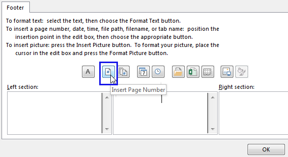Click on the Insert Page Number Button image