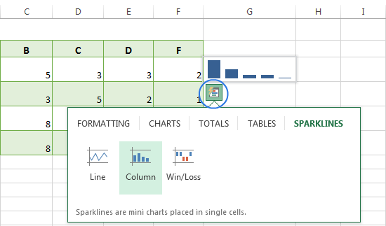 Use the Quick Analysis tool to insert sparklines in Excel 2013
