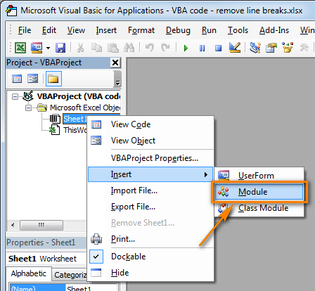 Insert a new VBA module to the Excel workbook