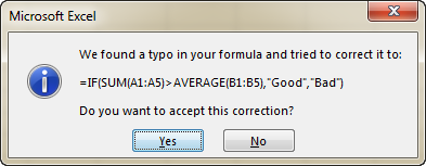 Microsoft Excel displays an alert suggesting to fix the formula for you automatically.