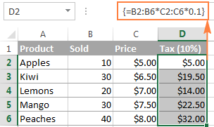 A multi-cell array formula in Excel