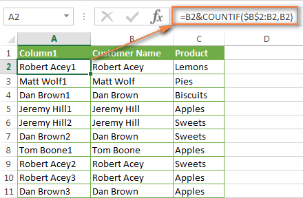 The COUNTIF formula to add the occurrence number to the customer's name.