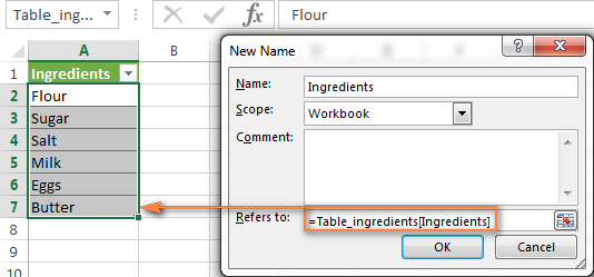 Creating a named based on the table column