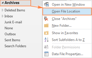 Quick way to determine the location of the Outlook Archive file