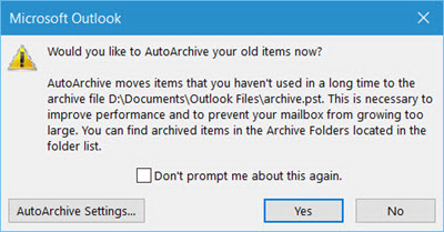 Outlook AutoArchive prompt