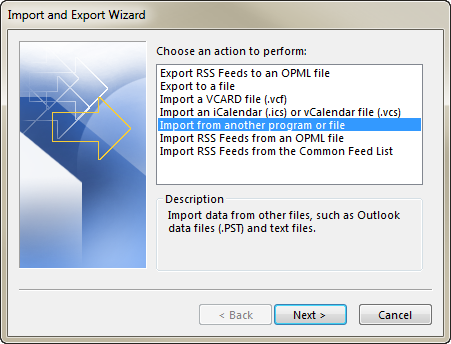 Select the option Import from another program or file