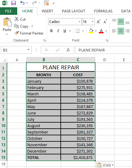 Click Paste or press Ctrl + V to paste the changed table back in Excel