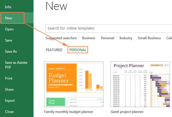 The Personal tab with custom templates in Excel 2013