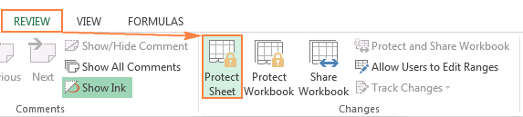 Protecting the worksheet in Excel