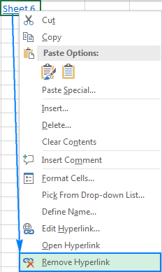 Removing a hyperlink in Excel