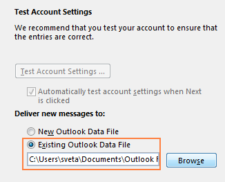 Restore Outlook backup when creating a new account
