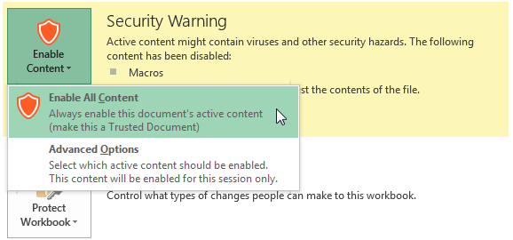Select Enable All Content to always make the document's active content available