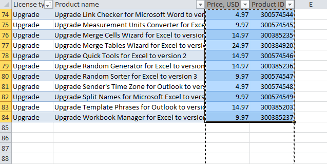 Selecting only cells with data rather than entire columns