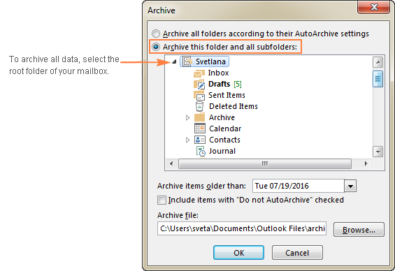 To archive all emails, calendars, and tasks, select the root folder in your Outlook mailbox.