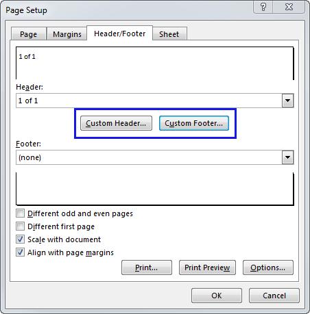 Press the Custom Header or Custom Footer button
