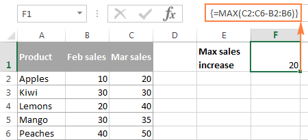 A single-cell MAX array formula