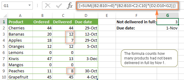 An example of SUM array formula in Excel 2013