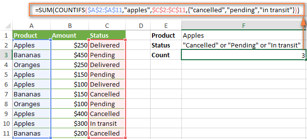 Counting cells with multiple criteria_range / criteria pairs and OR logic