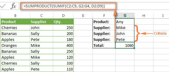 Sum with multiple criteria using the SUMPRODUCT / SUMIF formula