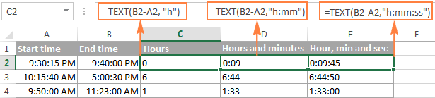 Calculating time difference with TEXT function