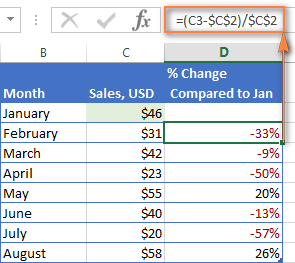 Calculating a percentage change compared to January