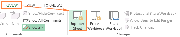 Unprotecting the worksheet in Excel