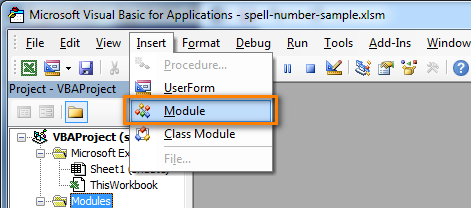 Excel Visual Basic editor - insert module